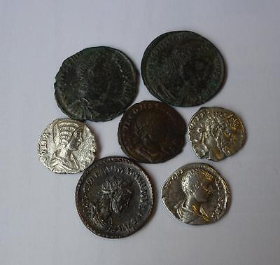 Group of Roman coins (including silver denarius) found metal detecting