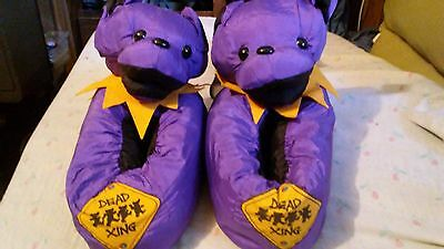 Purple  Plush GRATEFUL DEAD Dancing Bears Slippers 1995 Size. M Rare Collector