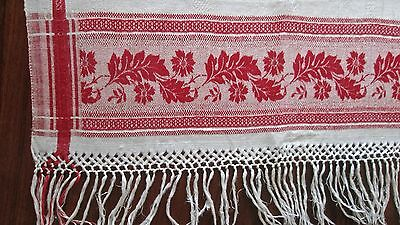 "antique linen damask towel w red damask borders, 72x22"" w braided fringe, fine!"