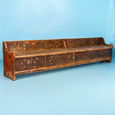 Antique 19th Century Hungarian Storage Bench with Original Folk Art Paint