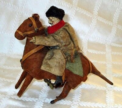 1900S- Russian Cossack Rider On Horse- Clockwork-W-Up-Wood-Cloth-Antique Toy