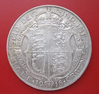 1918 HALF CROWN - George V silver coin