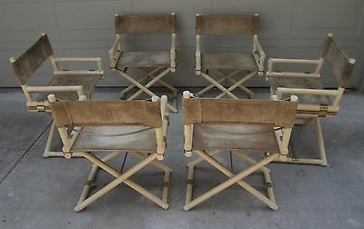 Set 6 McGuire X base brass campaign director's dining chairs suede Hollywood