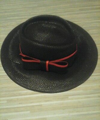 vintage black and red hat with bow
