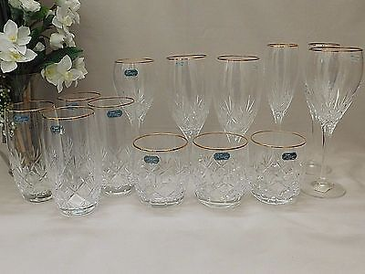 LOT OF 13 Cris D'arques Durand ORION GOLD Crystal Glassware NEW Assorted DOF etc