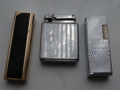 3 Vintage Lighters Colibri Kingsway Flamex