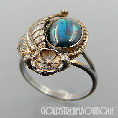 Vintage Navajo Signed Stc Sterling Silver Feather Flower Ring Size 7