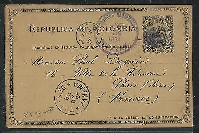 Colombia(Pp2706B) 1894  2C Psc  Popapyan Via Panama To France
