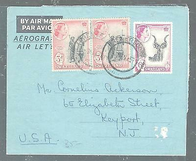 Swaziland (P1105B) Qeii 6D Aerogramme Uprated 3Dx2 To Usa With Msg