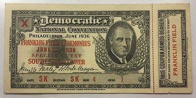 Crisp 1936 Democratic National Convention Ticket : Special Guest * Fdr * Seat 1