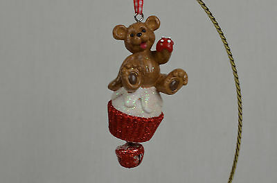 Bear on Cupcake with Jingle Bell ChristmasTree Ornament new