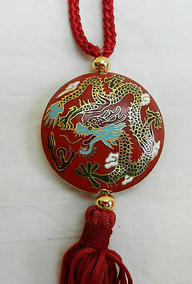 Stunning Cloisonne Enamel Chinese Dragon Pendant  in Silk Purse