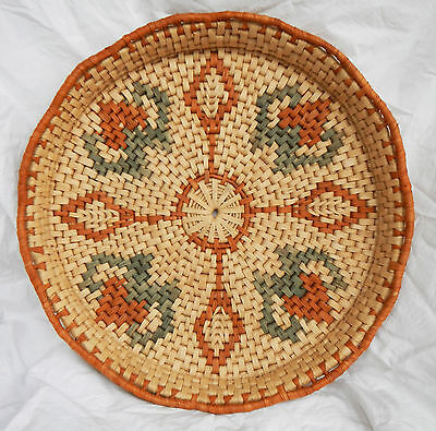 Large Hand Made Raffia and Straw Basket / Tray