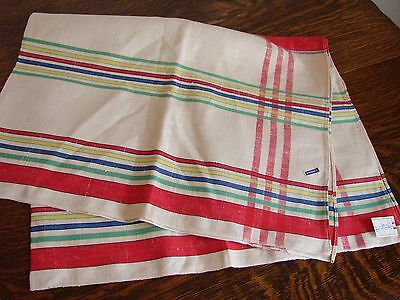 Vintage large striped linen tea towel unused with original labels & price 4/6