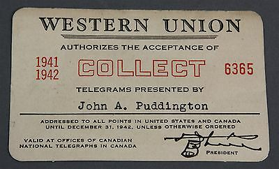 "1941 1942 WWII WESTERN UNION TELEGRAM ""COLLECT"" Acceptance Card Advertising"