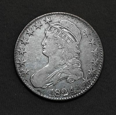 Fantastic 1824 U.S. Capped Bust 90% Silver Half Dollar Coin Free Shipping