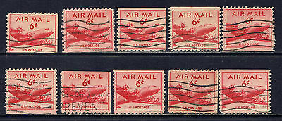 United States #C39as(10) 1949 6 cent DC-4 Skymaster Plane BOOKLET VARIETIES