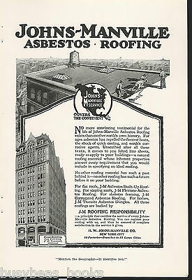 1917 JOHNS-MANVILLE advertisement, ASBESTOS Roofing, Foster Building New York
