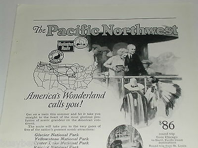 1924 Pacific Northwest rail travel advertisement, joint NP, CB&Q, GN railroads