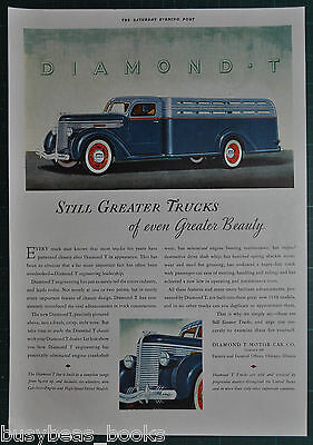 1937 DIAMOND T Truck advertisement, Cool streamlined stake-body truck