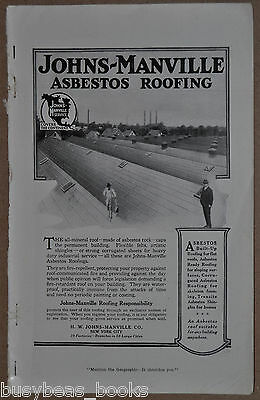 1917 JOHNS-MANVILLE advertisement, ASBESTOS Roofing, large factory roof