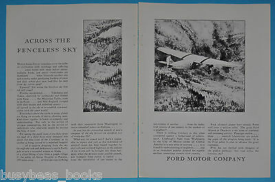 1928 Ford 2-page advertisement, Ford Tri-Motor airplane, The Fenceless Sky