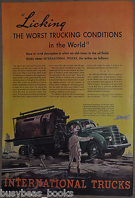 1937 INTERNATIONAL HARVESTER advertising page, Six-Wheel truck, Oil Fields