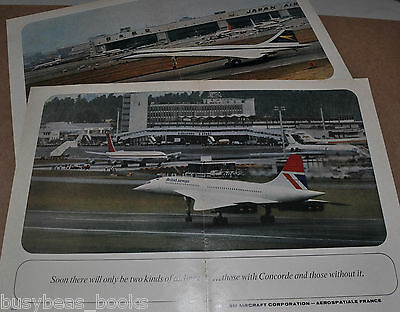 1973 COCORDE 2-page advertisements x2, BOAC, British Airways, large photos