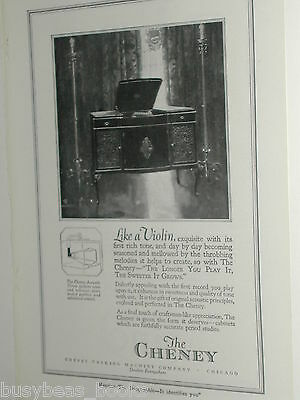 1920 Cheney Talking Machine Co. advertisement, record player phonograph