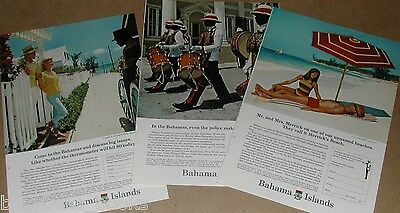 1966 Bahama Islands Tourism advertisements x3, Bahamas, beaches, police band etc