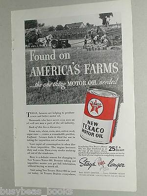 1937 Texaco advertisement, TEXACO Motor Oil Tin, Furfural, grain farming