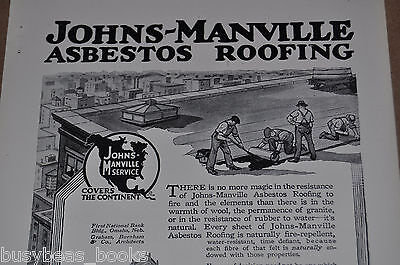 1917 JOHNS-MANVILLE advert. ASBESTOS Roofing, 1st National Bank building, Omaha
