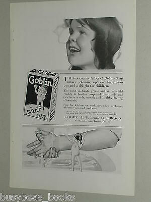1918 Goblin Soap advertisement, Young girl washing hands