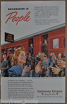 1945 PENNSYLVANIA Railroad advertisement, Pennsy, Trail Blazer passenger train