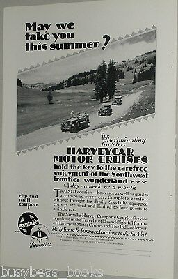 1929 SANTA FE RR advertisement, Harveycar Motor Cruises, Harvey Company, SW USA
