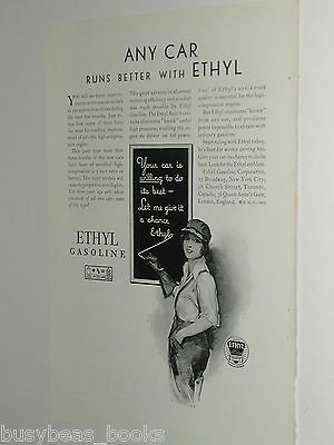 1929 Ethyl Gasoline ad with Chrysler ad on reverse