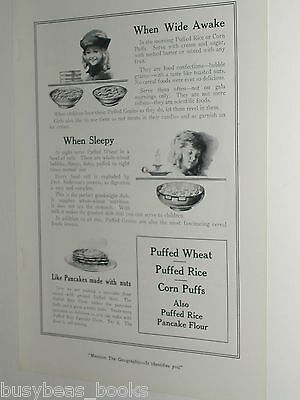 1920 Quaker Oats advertisement page, Quaker PUFFED WHEAT, Rice, Corn
