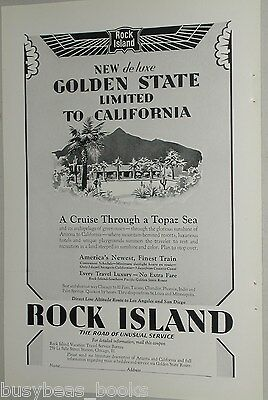 1929 Rock Island RR ad, Golden State Ltd, California