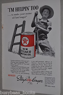 1938 Texaco advertisement, Motor Oil Tin, farm boy, Fur-fur-al refining