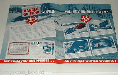 1939 Prestone Anti-freeze 2-page ad, winter use, Eveready, Union Carbide