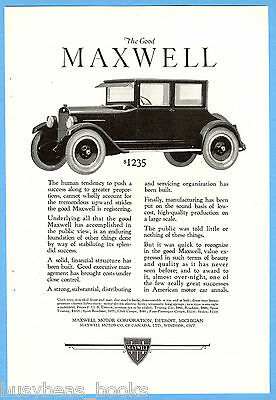 1923 MAXWELL advertisement, Maxwell Motor Corp, 4-passenger coupe, vintage auto
