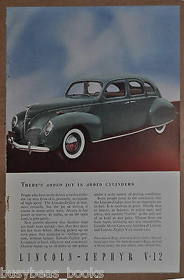 1938 Lincoln advertisement, LINCOLN ZEPHYR Sedan, color photo