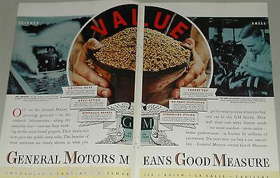 1937 General Motors 2-page advertisement, GM, proving grounds, lathe operator