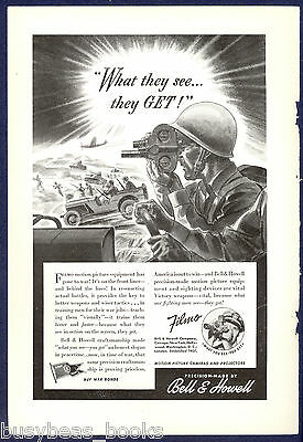 1942 Bell & Howell FILMO advertisement, movie camera infantry Jeep WWII