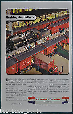 1943 PENNSYLVANIA RR advertisement, freight terminal, steam loco, red box cars