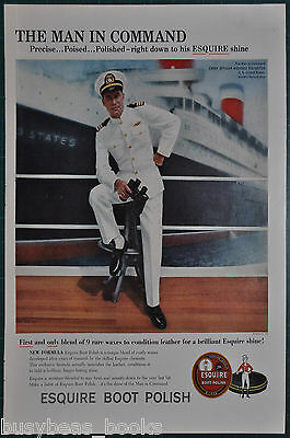 1959 ESQUIRE Boot Polish advertisement, with Chief Officer U. S. S. United State