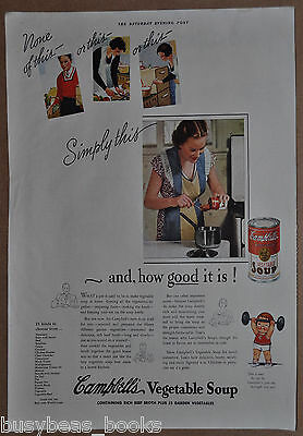 1937 CAMPBELL'S SOUP advertisement, Vegetable Soup, Mom in Kitchen, in apron