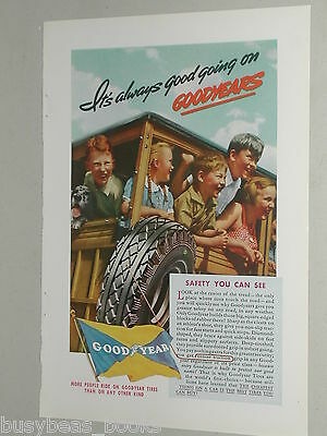 1937 Goodyear Tire advertisement, Ford WOODY WAGON full of kids