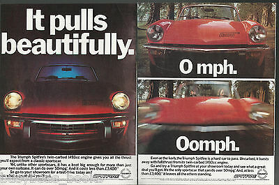 1979 TRIUMPH SPITFIRE advertisement x2, red Spitfire sports car, British adverts