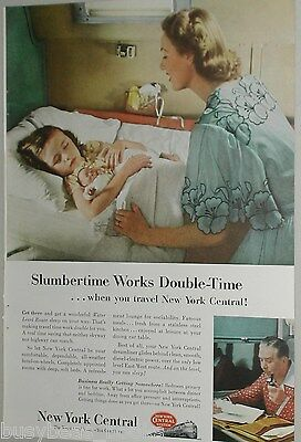 1953 New York Central ad, sleeping girl, bedtime berth